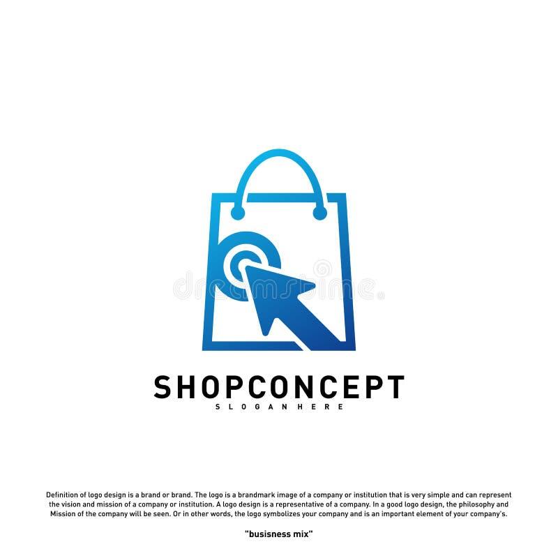Tienda en línea Logo Design Concept Centro comercial en línea Logo Vector Símbolo de la tienda en línea y de los regalos ilustración del vector