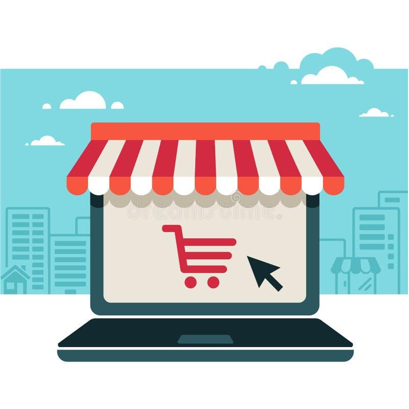 Tienda en línea. Ordenador portátil con el toldo stock de ilustración