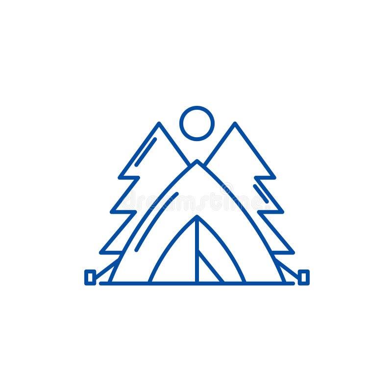 Tienda en la línea concepto del bosque del icono Tienda en el símbolo plano del vector del bosque, muestra, ejemplo del esquema stock de ilustración