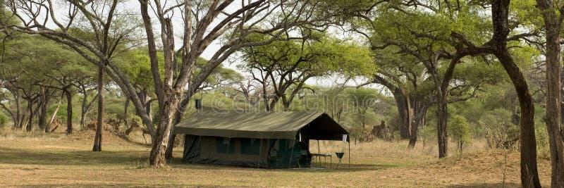Tienda en paisaje, Tanzania, África fotografía de archivo