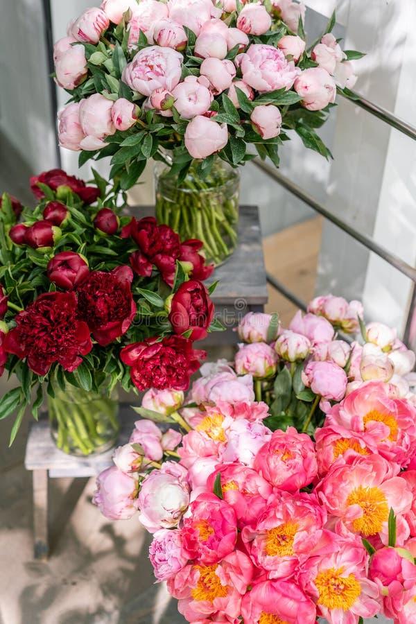 Tienda floral Ramo hermoso de diversas peonías de las variedades wallpaper Flores preciosas en floreros foto de archivo