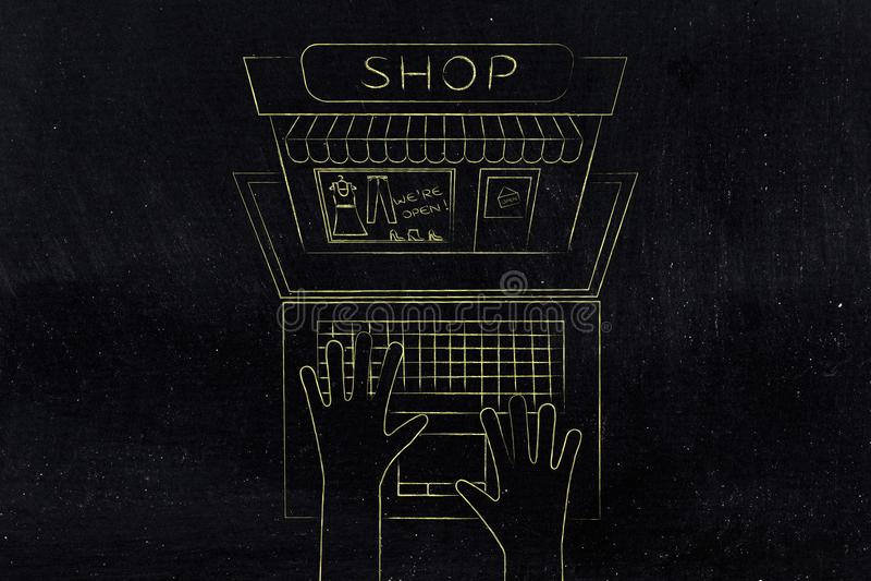 Tienda haciendo estallar fuera de la pantalla del ordenador portátil desde arriba libre illustration
