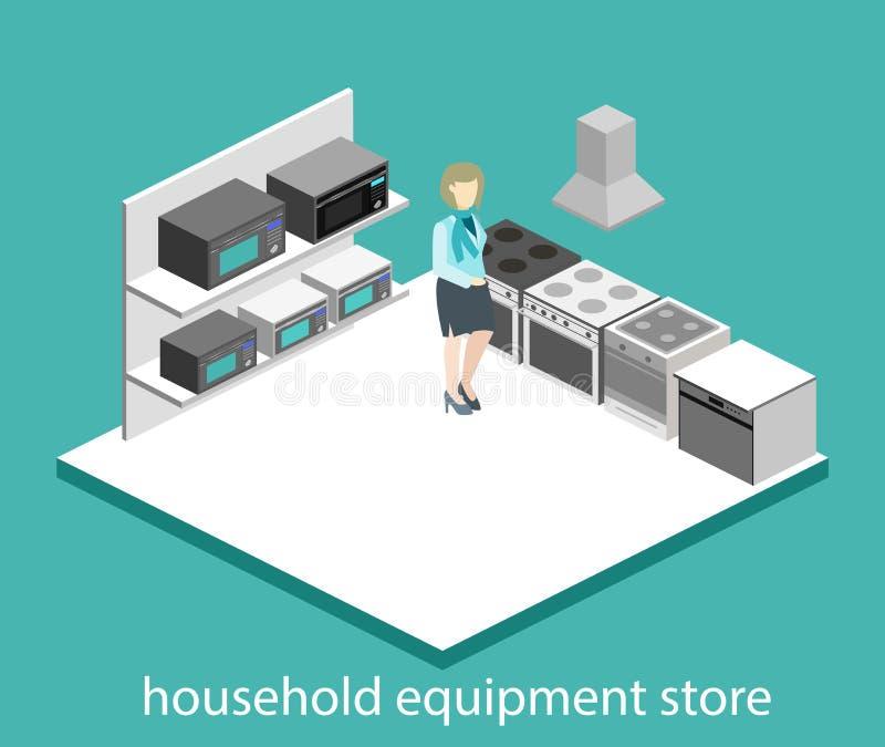 Tienda interior cortada del equipo de hogar del concepto plano isométrico 3D stock de ilustración