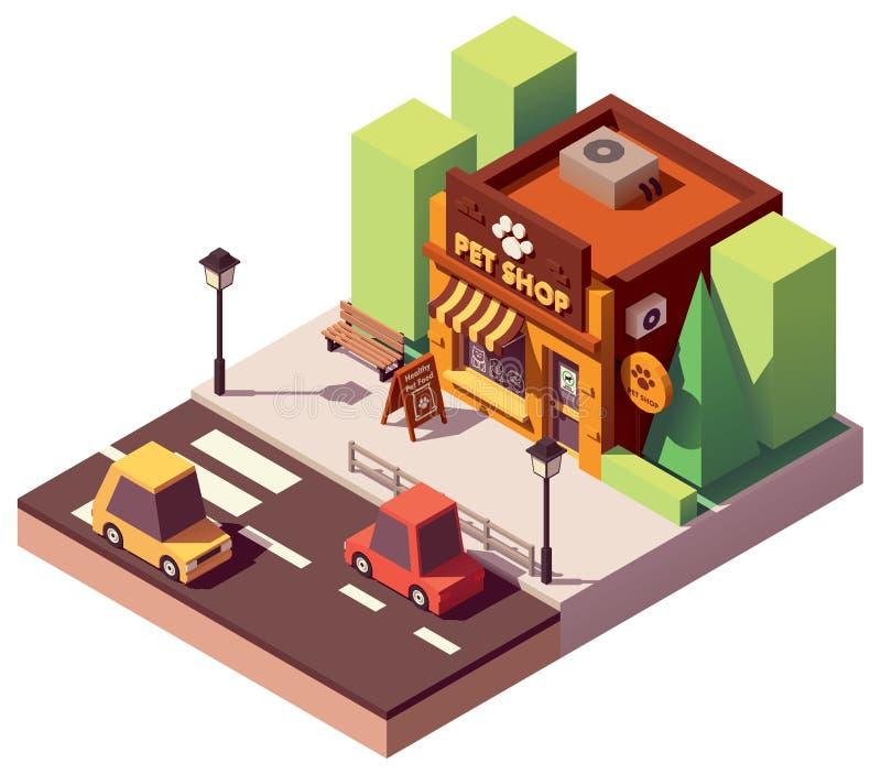 Tienda isométrica del animal doméstico del vector stock de ilustración