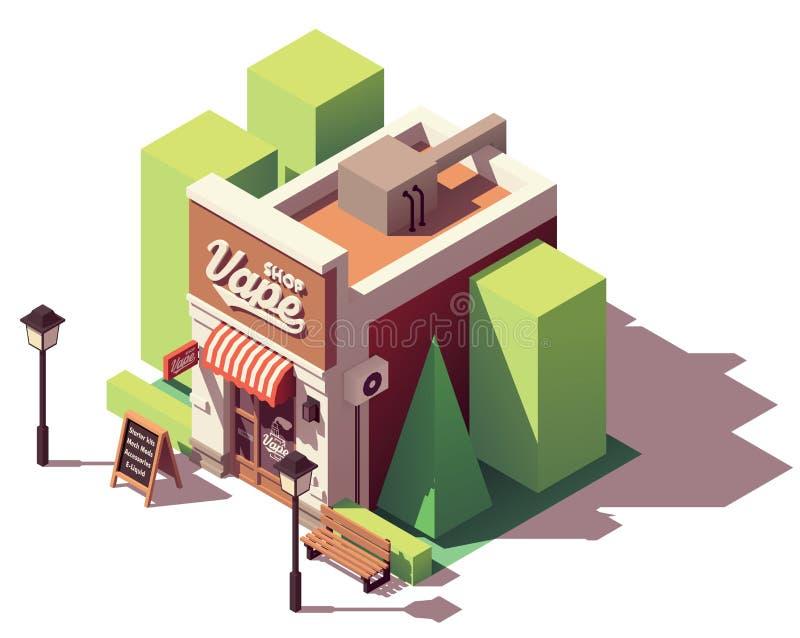 Tienda isométrica del vape del vector stock de ilustración