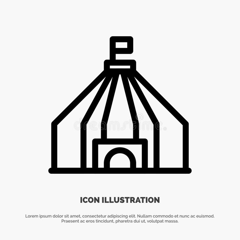 Tienda, tienda, línea icono del vector del circo ilustración del vector