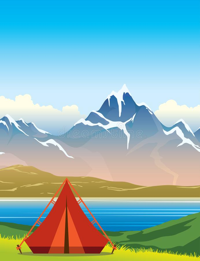 Tienda, lago, montaña, paisaje del verano stock de ilustración