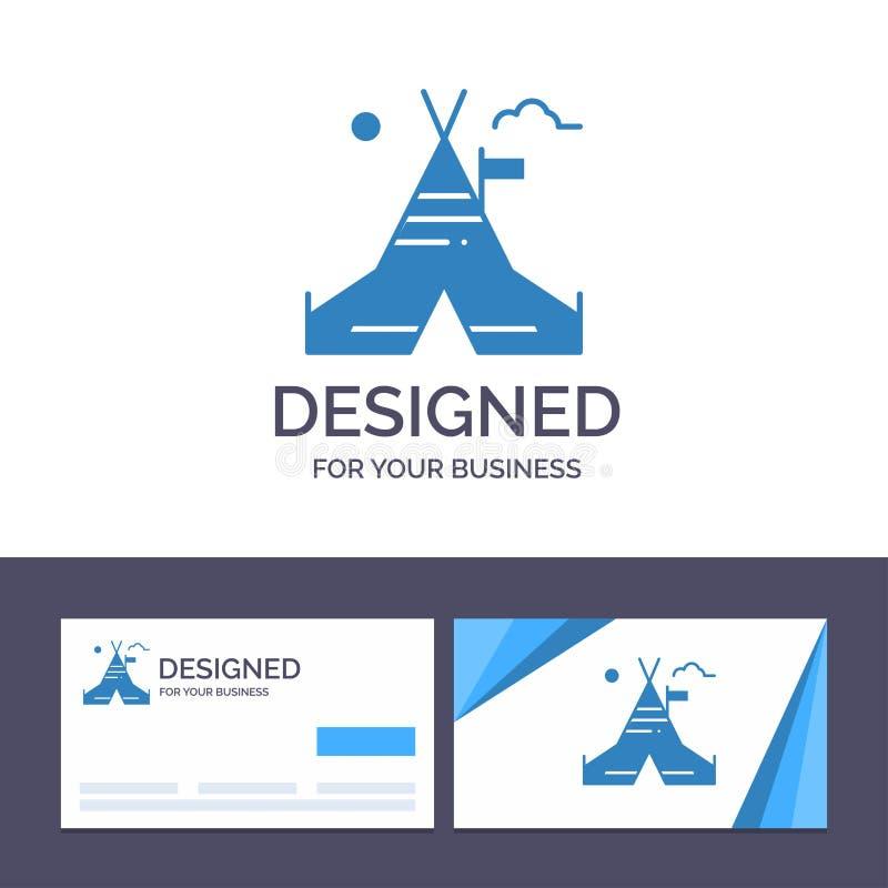 Tienda libre, tienda, campo, ejemplo americano de visita de la plantilla creativa de la tarjeta y del logotipo del vector stock de ilustración
