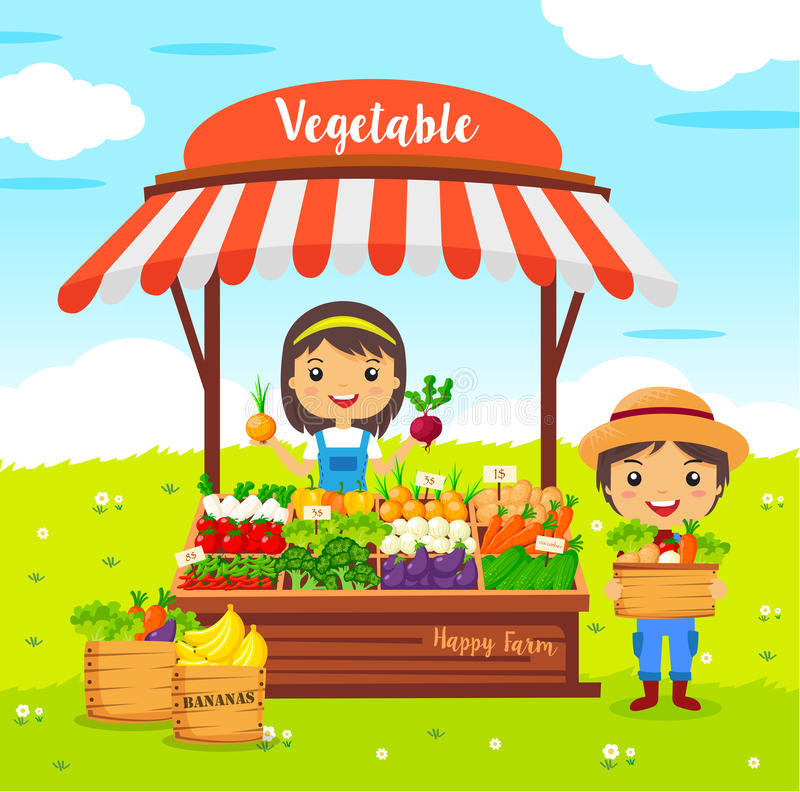 Tienda local de las verduras del granjero del mercado libre illustration
