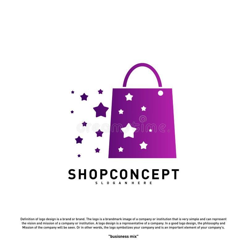 Tienda Logo Design Concept de la estrella Centro comercial Logo Vector Símbolo de la tienda y de los regalos stock de ilustración