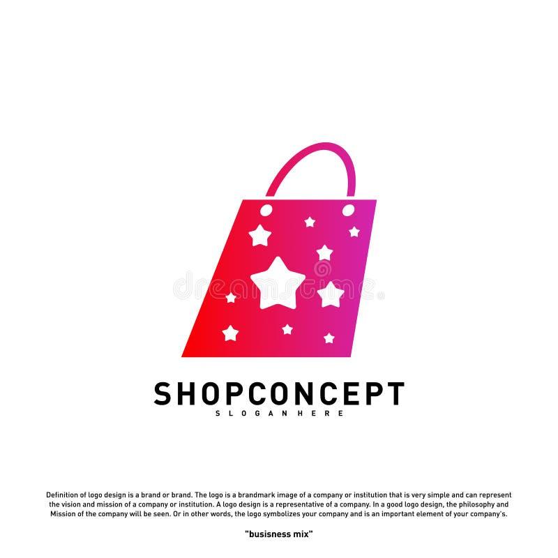 Tienda Logo Design Concept de la estrella Centro comercial Logo Vector Símbolo de la tienda y de los regalos ilustración del vector