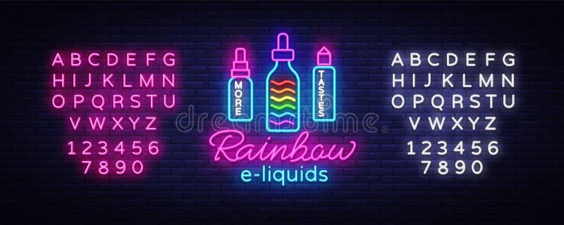 Tienda Logo Neon Vector de Vape Concepto de los e-líquidos del arco iris, plantilla del diseño de la señal de neón de Vape, bande ilustración del vector