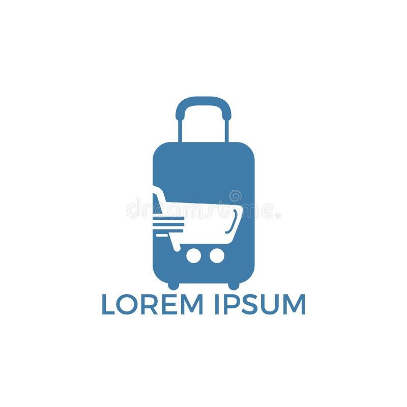 Tienda Logo Template Design Vector del viaje Icono en línea del app que hace compras stock de ilustración