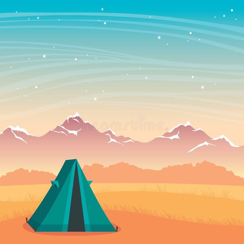 Tienda, montaña y cielo nocturno El acampar del otoño de la naturaleza libre illustration