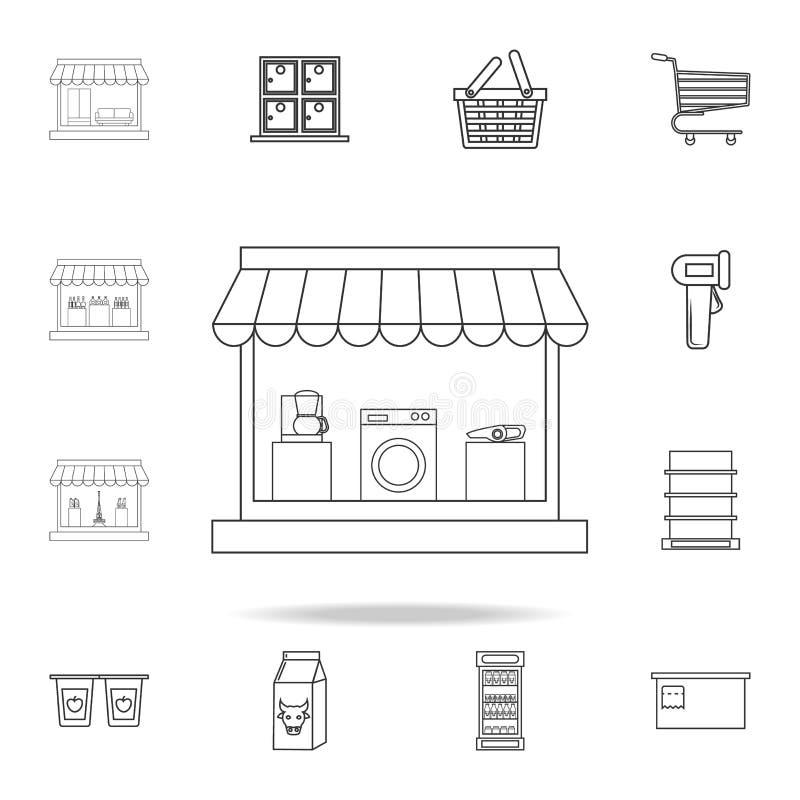 tienda para el icono de los aparatos electrodomésticos Sistema detallado de tiendas y de iconos del hipermercado Diseño gráfico d ilustración del vector