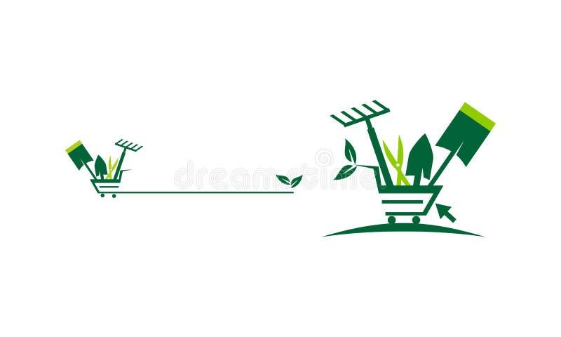 Tienda que cultiva un huerto en línea stock de ilustración