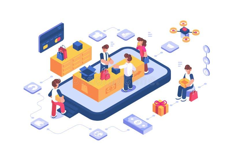 Tienda que hace compras en línea vía el app de Internet stock de ilustración