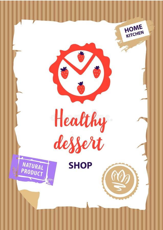 Tienda sana del postre, tienda, logotipo del boutique Bandera de la plantilla, posición ilustración del vector