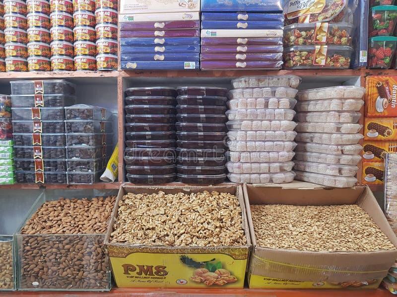 Tienda seca de la fruta en Quetta, Paquistán fotografía de archivo