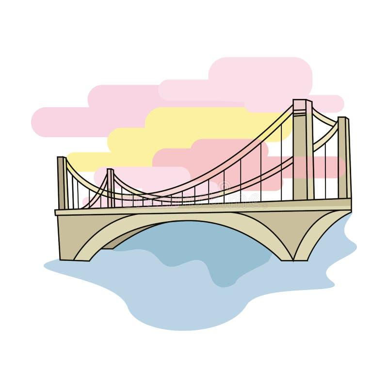 Tienda un puente sobre el icono en estilo de la historieta aislado en el fondo blanco Ejemplo del vector de la acción del símbolo stock de ilustración