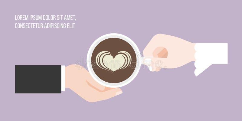 Tienda un puente sobre y prepare el envío del arte del latte de la forma del corazón del café ilustración del vector