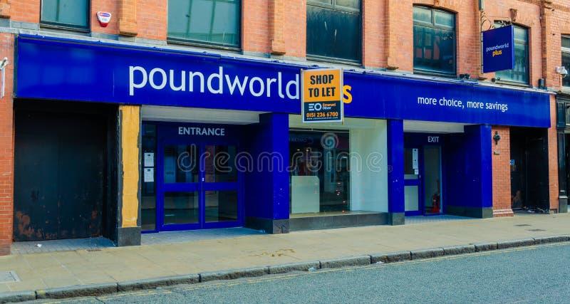 Tienda vacante y cerrada de Poundworld en Chester foto de archivo libre de regalías
