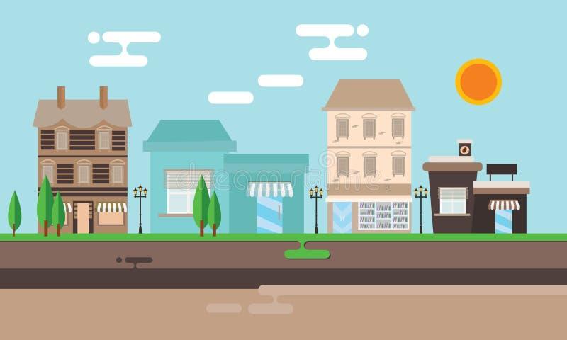 Tienda vieja de la alameda del vintage de la ciudad plana del ejemplo del edificio comercial de la calle stock de ilustración