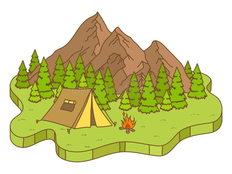 Tienda y fuego de campaña cerca de las montañas ilustración del vector