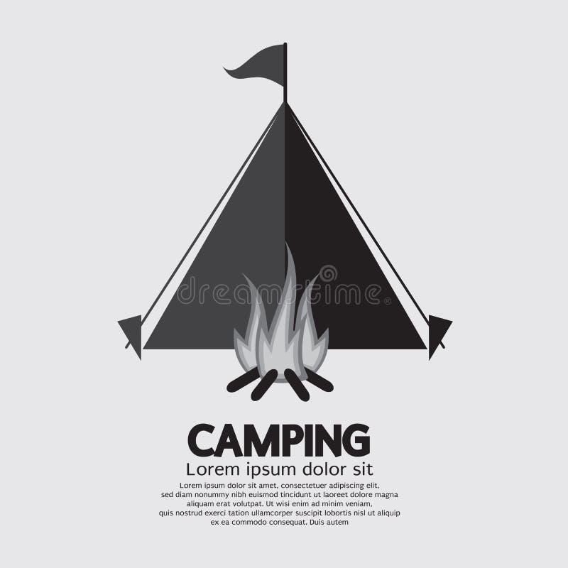 Tienda y hoguera para acampar ilustración del vector