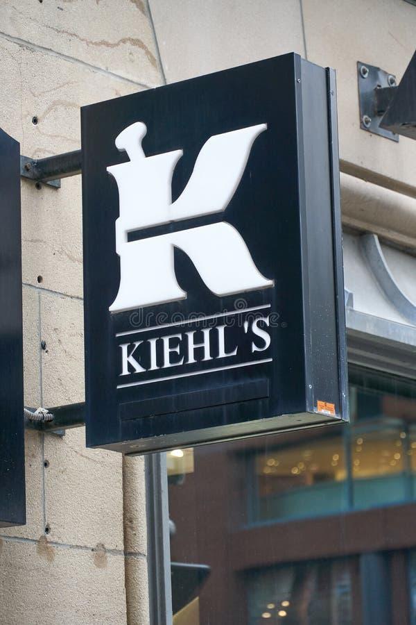 Tienda y logotipo de Kiehls fotografía de archivo