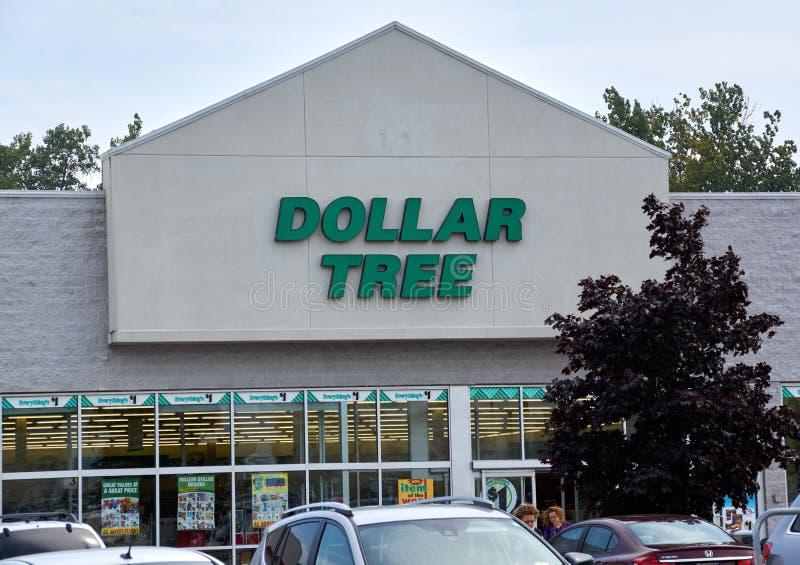 Tienda y muestra del árbol del dólar fotografía de archivo libre de regalías
