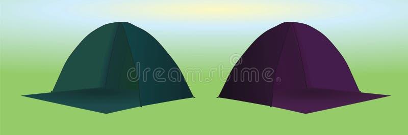 Tiendas de campaña verdes y púrpuras stock de ilustración