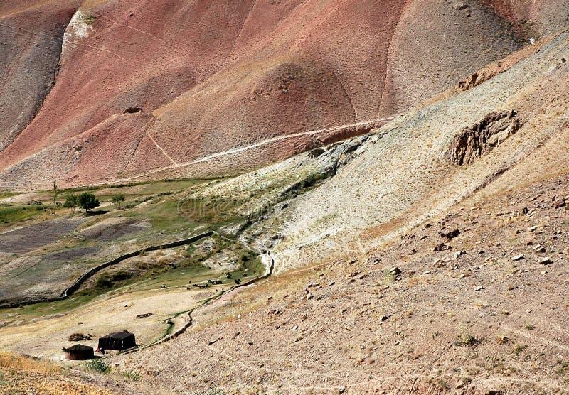 Tiendas de campaña y ganado en una pequeña aldea entre Chaghcharan y el Minaret de Jamón en Afganistán imagen de archivo