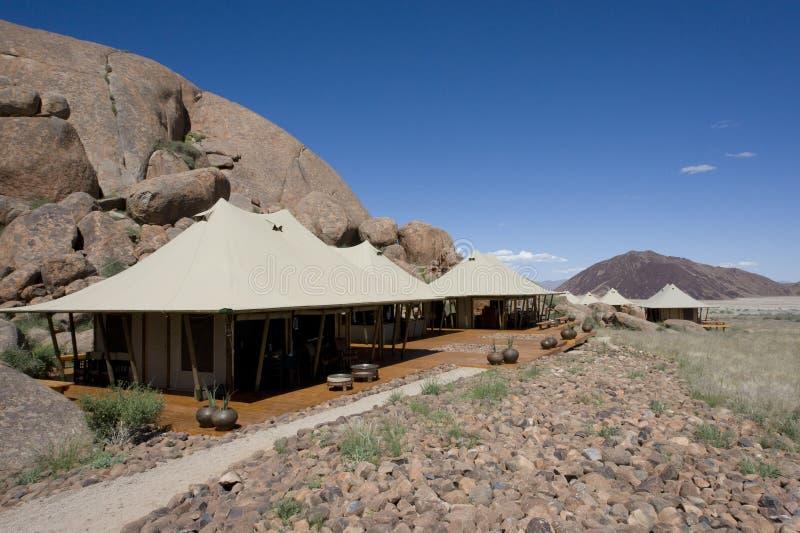 Tiendas de lujo del safari en Namibia fotografía de archivo libre de regalías