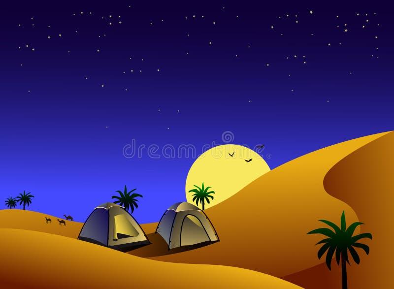 Tiendas en desierto en la noche stock de ilustración