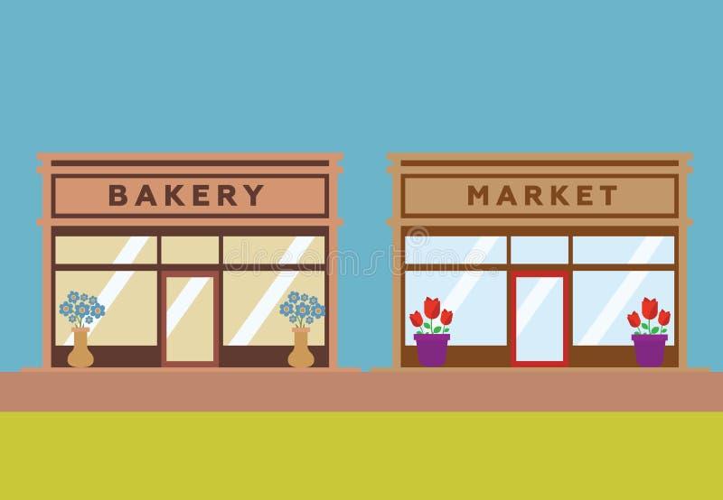 Tiendas y fachadas de la tienda stock de ilustración