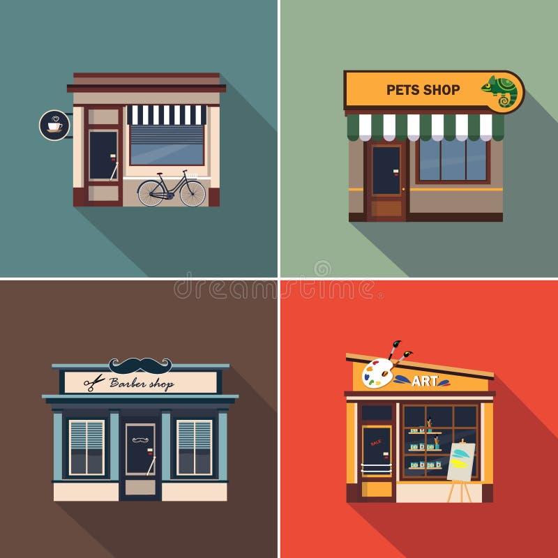 Tiendas y fachadas de la tienda Sistema colorido del ejemplo del vector ilustración del vector