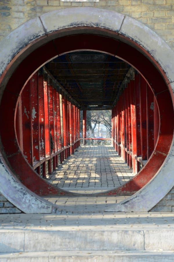 Tiene un edificio circular de la antigüedad de China del jardín fotos de archivo