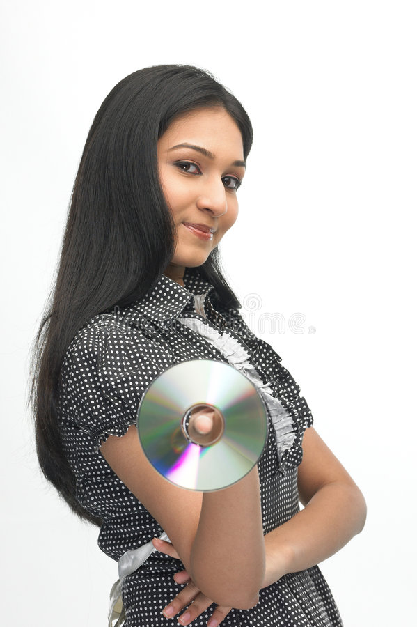 Tiener die CD toont royalty-vrije stock foto's
