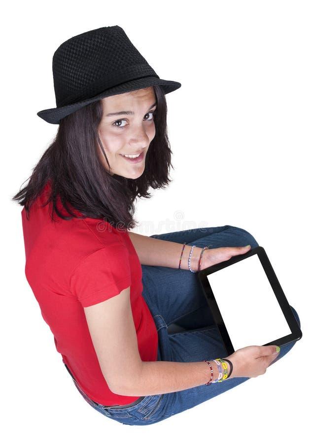 Tiener die een tablet houden royalty-vrije stock afbeeldingen