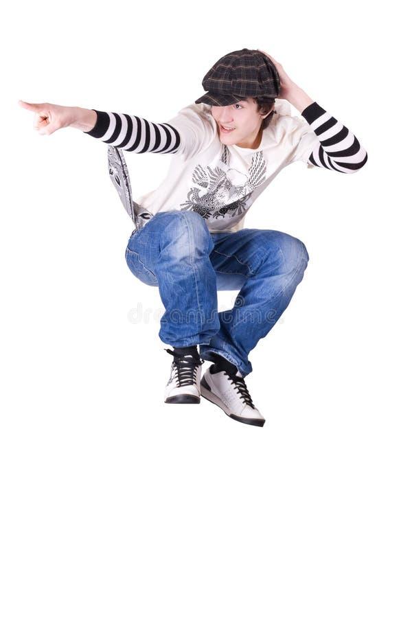 Tiener die en het dansen de dans van het Sluiten springt royalty-vrije stock afbeeldingen