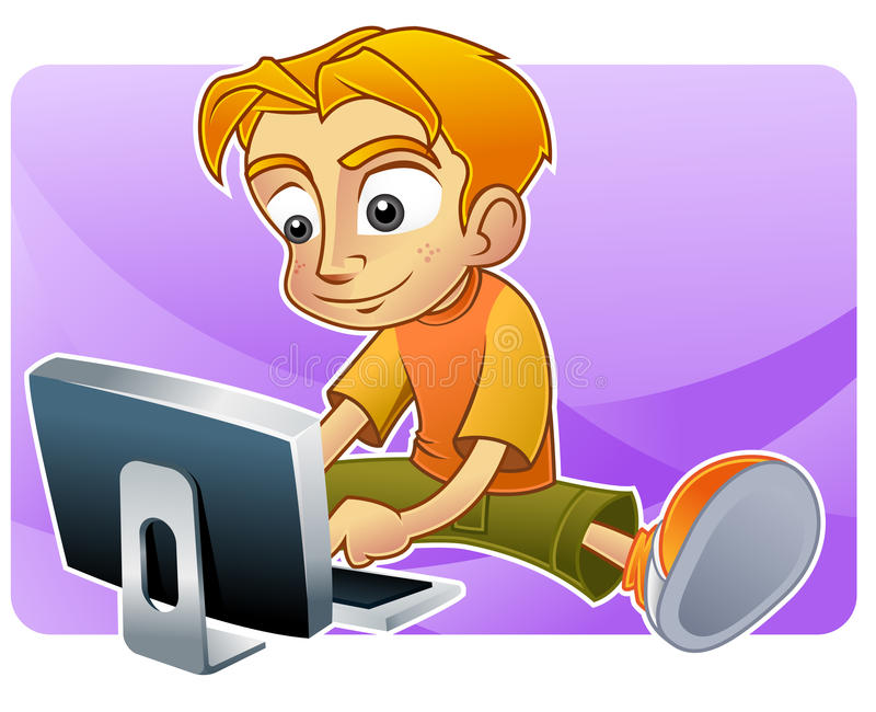 Tiener die Internet doorbladert stock illustratie