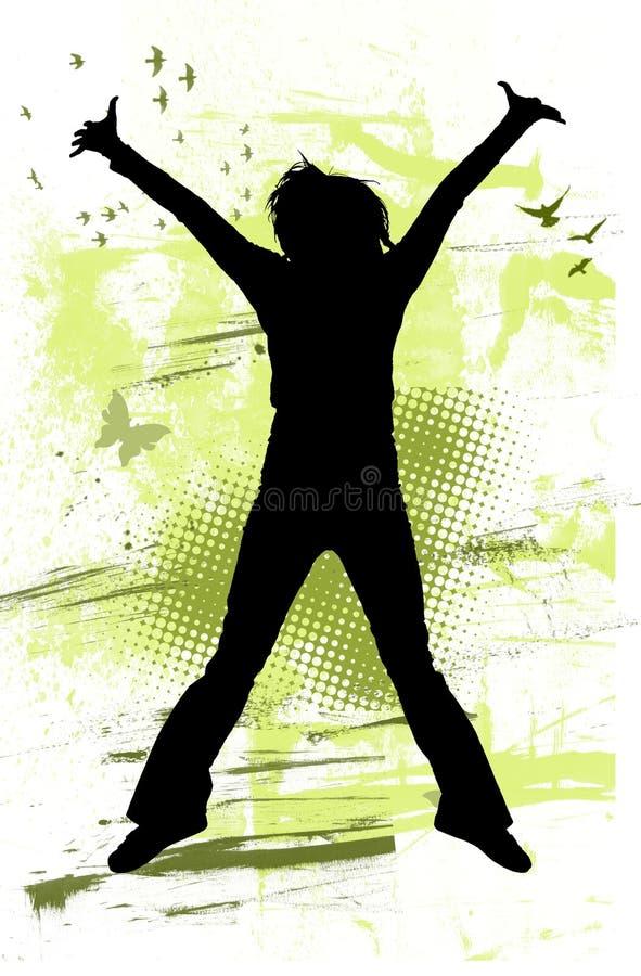 Tiener die met vreugde springt vector illustratie