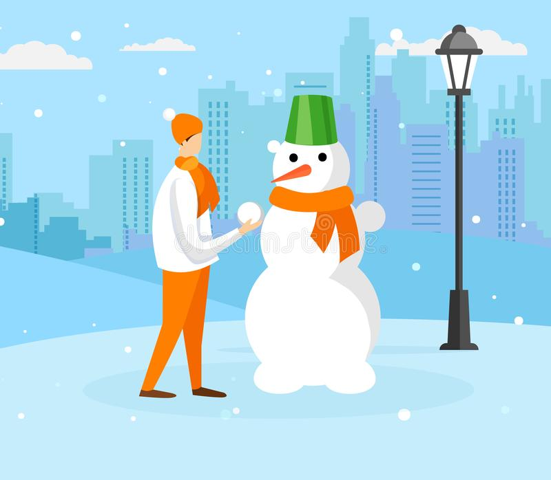 Tiener die in Warme de Winterkleding Sneeuwman maakt stock illustratie