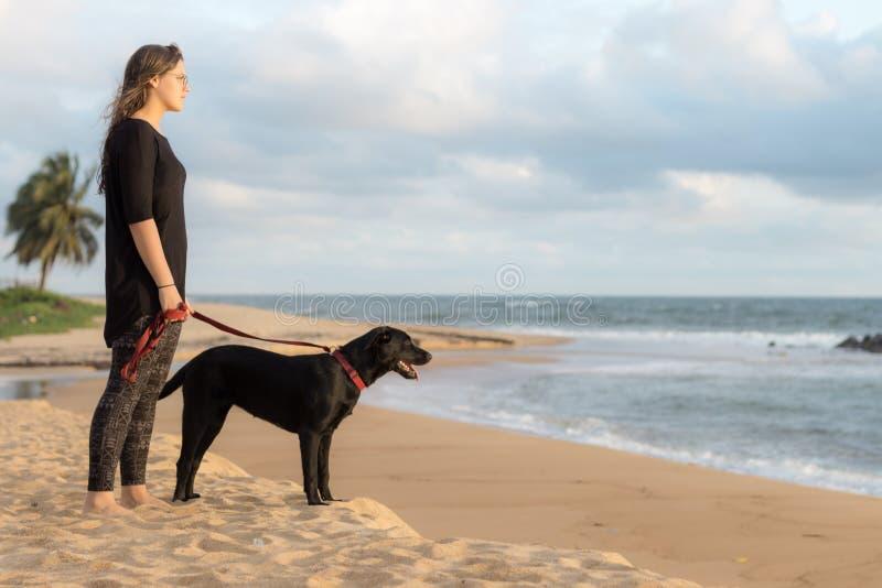Tiener en haar hond op het strand stock fotografie