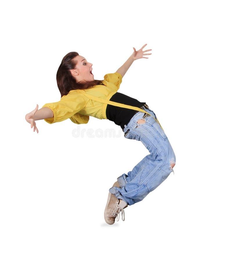 Tiener het dansen breakdance in actie over wit royalty-vrije stock afbeelding