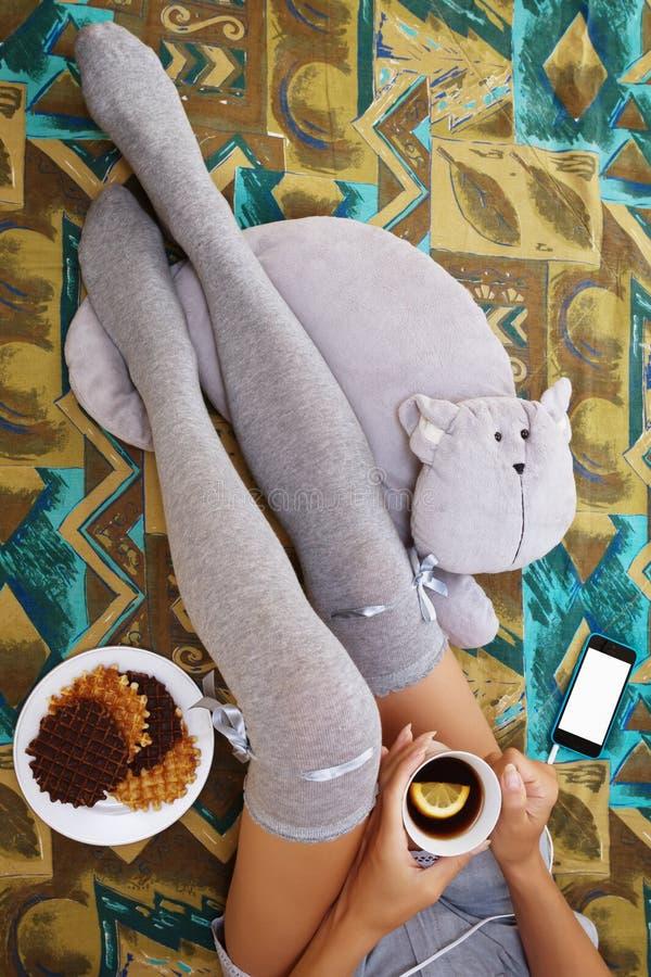 Tiener het ontspannen met wat thee en waffels royalty-vrije stock foto