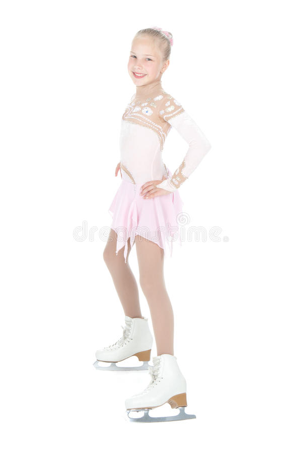 Tiener ijs schaatsend meisje royalty-vrije stock foto