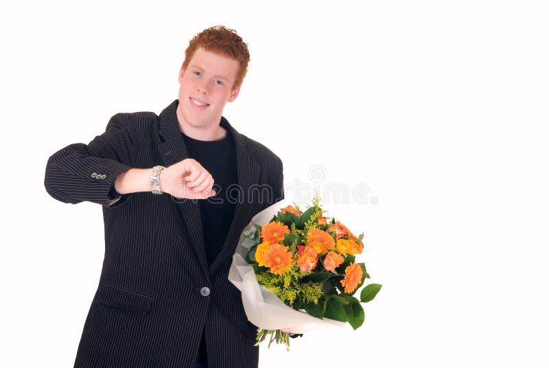 Tiener met boeket van bloemen royalty-vrije stock foto