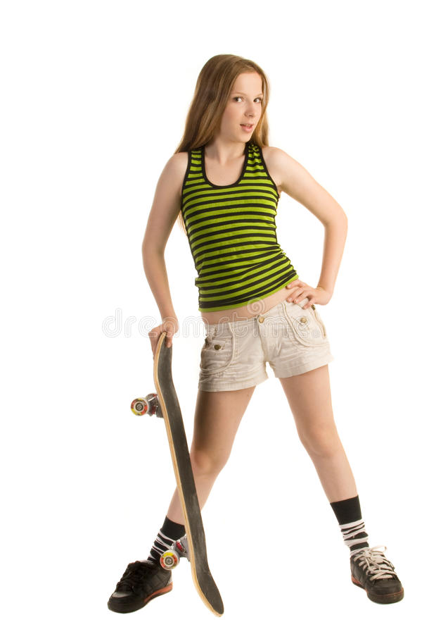Tiener met een skateboard stock foto's